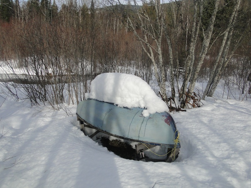Rowboat in the snow