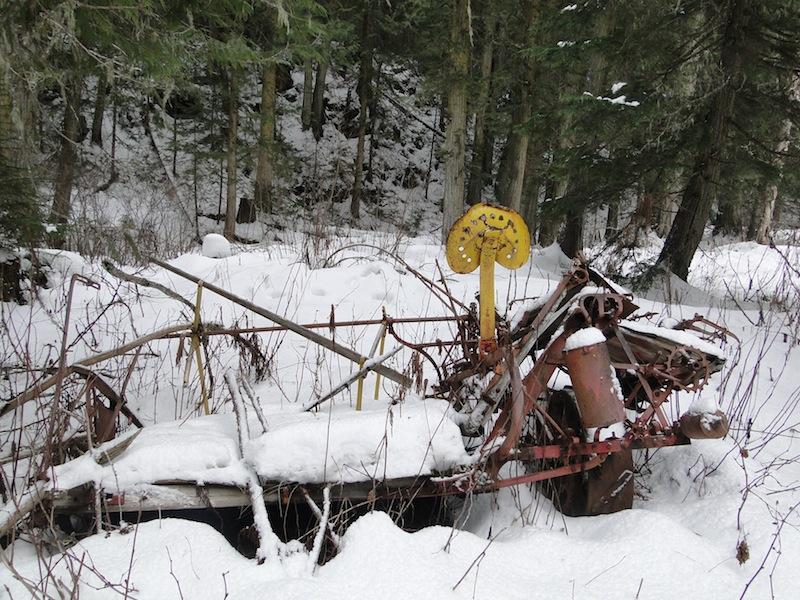 cultivator in Longworths snow