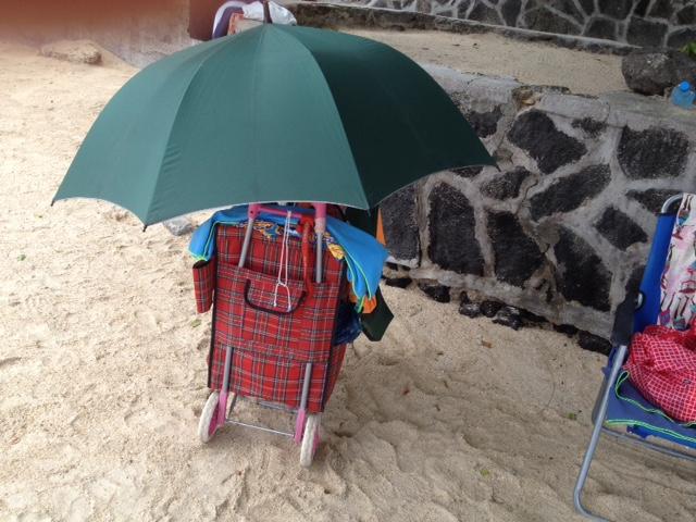 Regenschauer am Strand